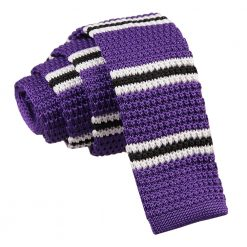 Purple with Black & White Thin Stripe Knitted Skinny Tie