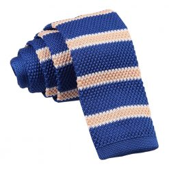 Royal Blue, Cream with White Thin Stripe Knitted Skinny Tie