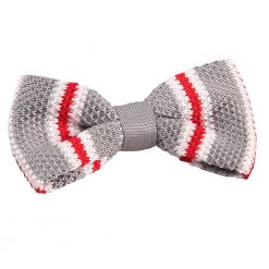 Silver with Red & White Thin Stripe Knitted Pre-Tied Bow Tie