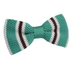 Teal with Brown & White Thin Stripe Knitted Pre-Tied Bow Tie