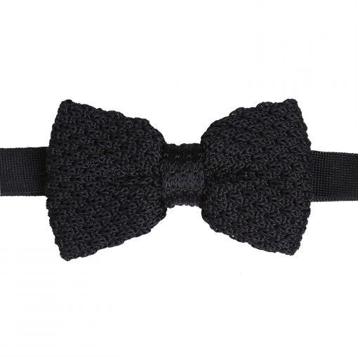 Black Grenadine Silk Knitted Pre-Tied Bow Tie