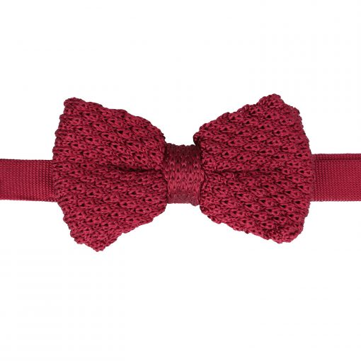 Burgundy Grenadine Silk Knitted Pre-Tied Bow Tie