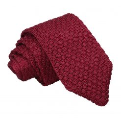 Burgundy Grenadine Silk Knitted Slim Tie