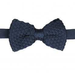 Navy Blue Grenadine Silk Knitted Pre-Tied Bow Tie