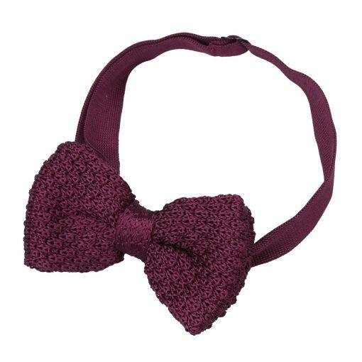 Plum Grenadine Silk Knitted Pre-Tied Bow Tie