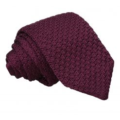 Plum Grenadine Silk Knitted Slim Tie