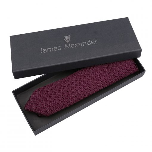 Plum Grenadine Silk Knitted Slim Tie