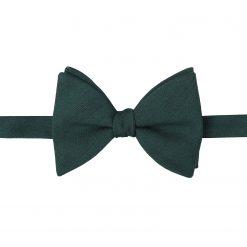 Bottle Green Ottoman Wool Self Tie Butterfly Bow Tie