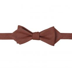 Brown Ottoman Wool Self Tie Pointed Bow Tie