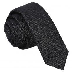 Charcoal Grey Ottoman Wool Skinny Tie