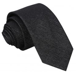 Charcoal Grey Ottoman Wool Slim Tie