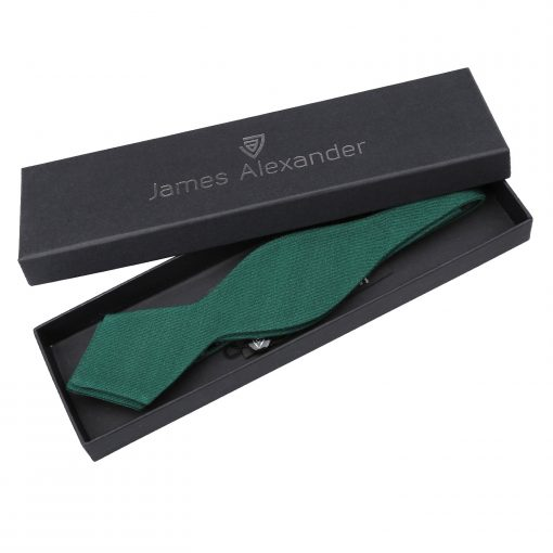 Hunter Green Ottoman Wool Self Tie Pointed Bow Tie
