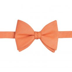 Light Orange Ottoman Wool Self Tie Butterfly Bow Tie