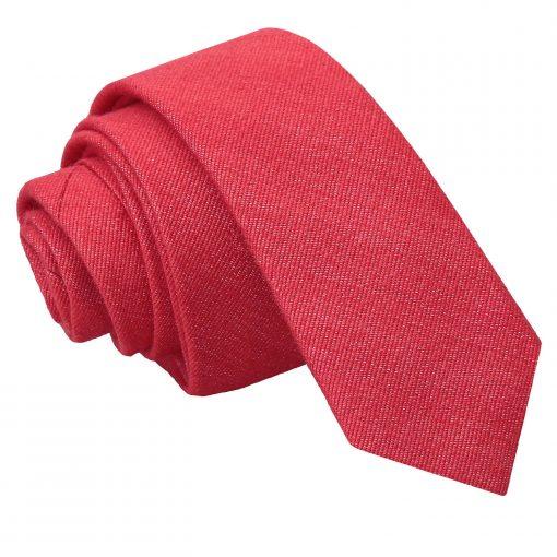 Watermelon Red Ottoman Wool Skinny Tie