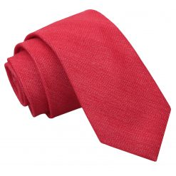 Watermelon Red Ottoman Wool Slim Tie