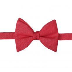 Watermelon Red Ottoman Wool Self Tie Butterfly Bow Tie
