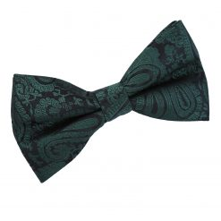 Emerald Green Paisley Pre-Tied Thistle Bow Tie