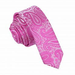 Fuchsia Pink Paisley Skinny Tie