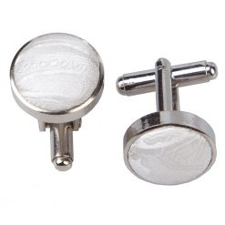 Ivory Paisley Silver Plated Cufflinks