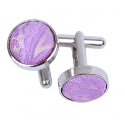 Lilac Paisley Silver Plated Cufflinks