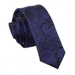 Navy Blue Paisley Skinny Tie