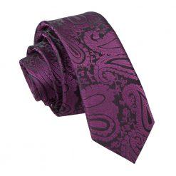 Purple Paisley Skinny Tie