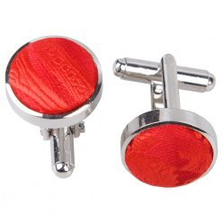 Red Paisley Silver Plated Cufflinks