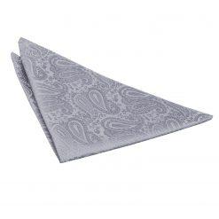 Silver Paisley Pocket Square