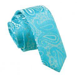 Turquoise Paisley Skinny Tie