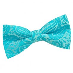 Turquoise Paisley Pre-Tied Thistle Bow Tie