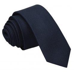 Navy Blue Panama Silk Skinny Tie