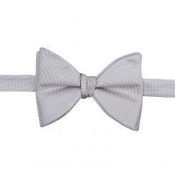 Silver Panama Silk Self Tie Butterfly Bow Tie