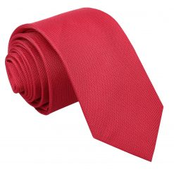 Strawberry Red Panama Silk Skinny Tie