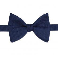 Navy Blue Panama Wool Self Tie Butterfly Bow Tie