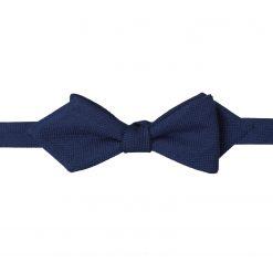 Navy Blue Panama Wool Self Tie Pointed Bow Tie
