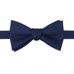 Navy Blue Panama Wool Self Tie Thistle Bow Tie