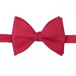 Scarlet Red Panama Wool Self Tie Butterfly Bow Tie