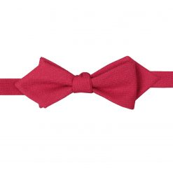 Scarlet Red Panama Wool Self Tie Pointed Bow Tie