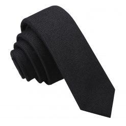 Black Panama Wool Skinny Tie