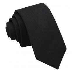 Black Panama Wool Slim Tie