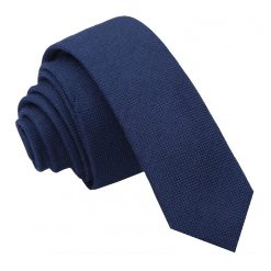 Navy Blue Panama Wool Skinny Tie