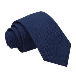 Navy Blue Panama Wool Slim Tie