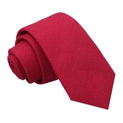 Scarlet Red Panama Wool Slim Tie