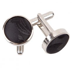 Black Passion Silver Plated Cufflinks