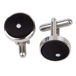 Black Pin Dot Silver Plated Cufflinks
