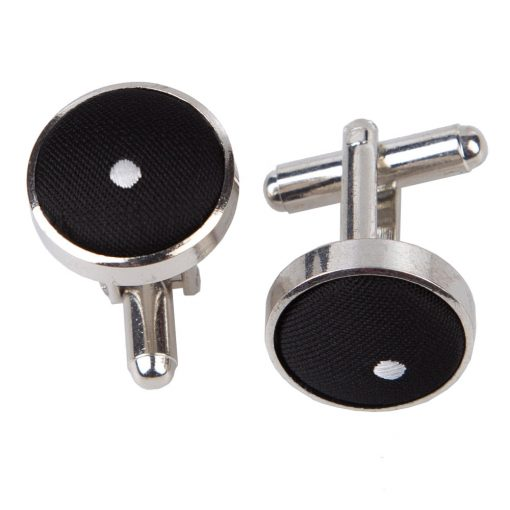 Black Pin Dot Silver Plated Cufflinks