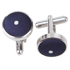 Navy Blue Pin Dot Silver Plated Cufflinks