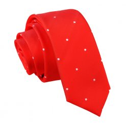 Red Pin Dot Skinny Tie