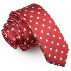 Dark Red Polka Dot Skinny Tie