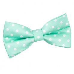 Mint Green Polka Dot Pre-Tied Thistle Bow Tie